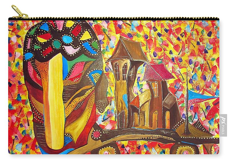 Graphics Carry-all Pouch featuring the painting Abstraction 445 - Marucii by Marek Lutek