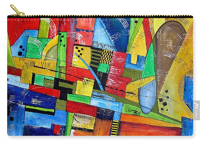 Abstraction Carry-all Pouch featuring the painting Abstraction 599-14 - Marucii by Marek Lutek