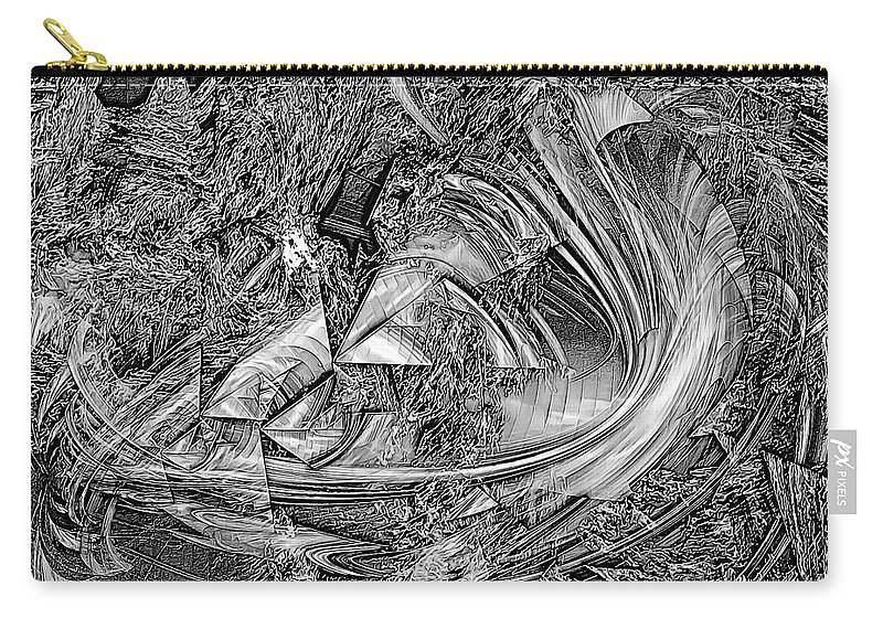 Graphics Carry-all Pouch featuring the digital art Abstraction B-w 0559 Marucii by Marek Lutek