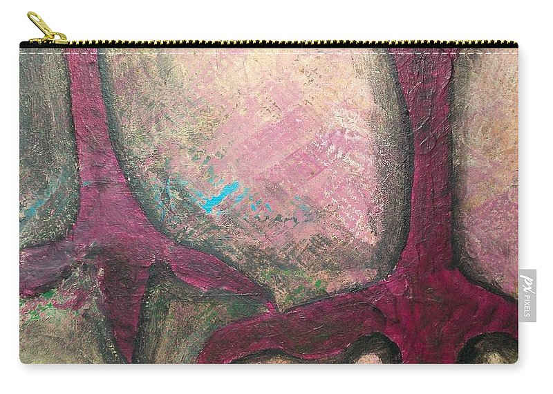 Crow Carry-all Pouch featuring the painting Abstracty Crows Feet Crop by Laurette Escobar