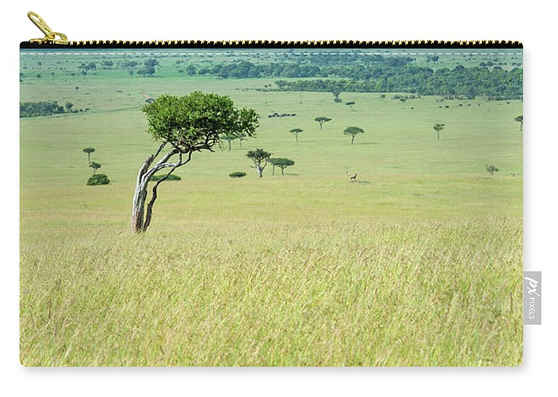 Scenics Carry-all Pouch featuring the photograph Acacia In The Green Plains Of Masai Mara by Guenterguni