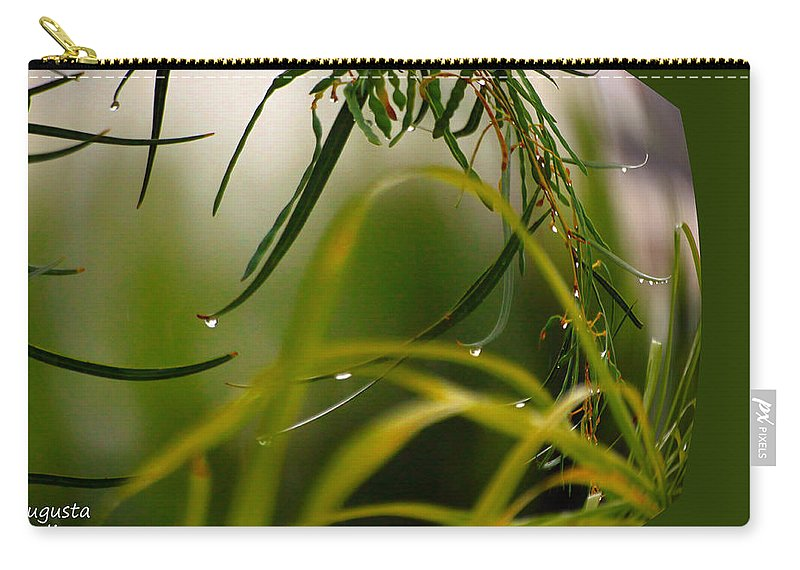 Nature Carry-all Pouch featuring the digital art Acacia Water Drops by Augusta Stylianou