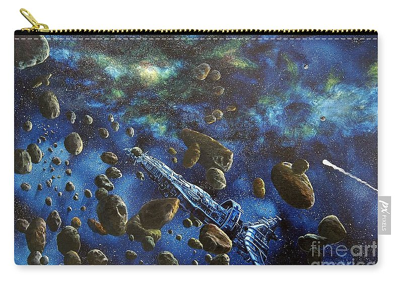 Canvas Carry-all Pouch featuring the painting Accidental Asteroid by Murphy Elliott