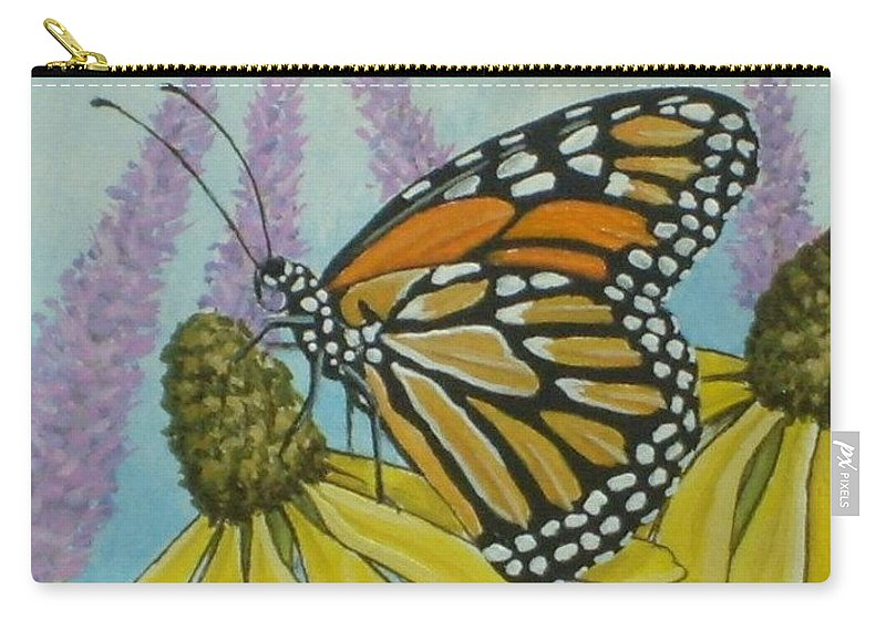 Aceo Carry-all Pouch featuring the painting Aceo Monarch On Wild Grey Headed Coneflower by Debrah Nelson