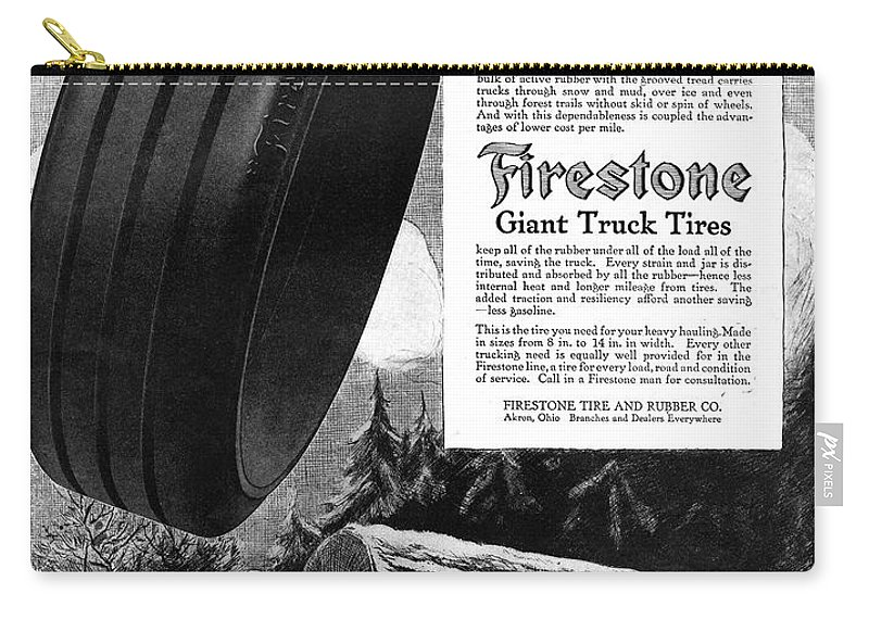 1918 Carry-all Pouch featuring the painting Ad Firestone, 1918 by Granger