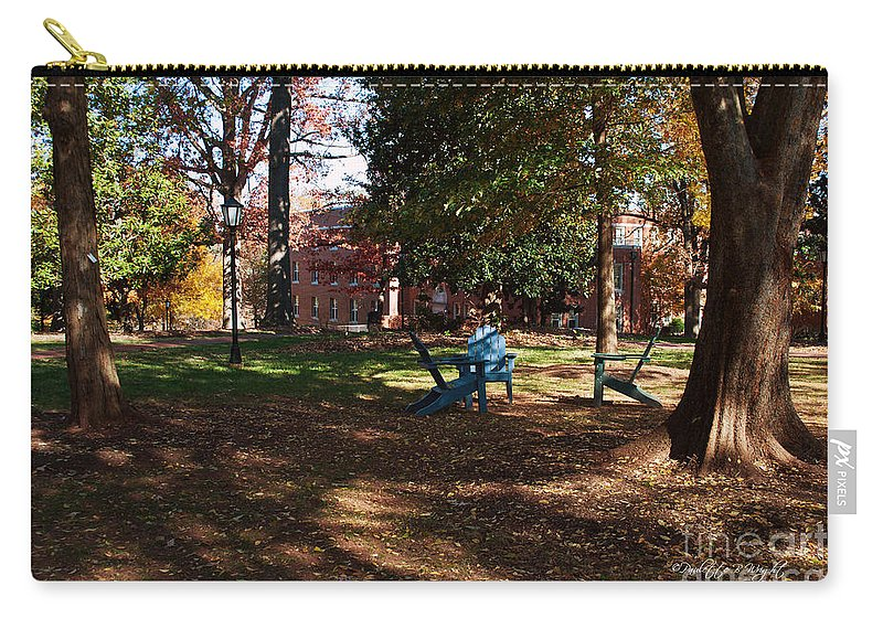 Art Carry-all Pouch featuring the photograph Adirondack Chairs 2 - Davidson College by Paulette B Wright