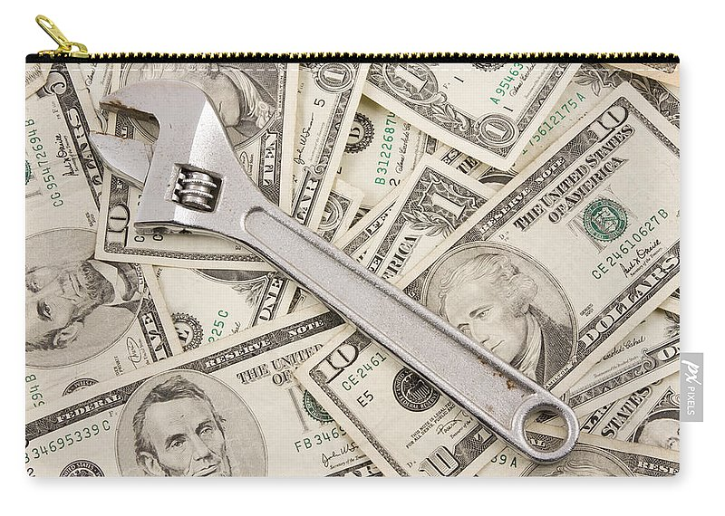 Money Background Carry-all Pouch featuring the photograph Adjustable Wrench On Pile Of Money by Keith Webber Jr