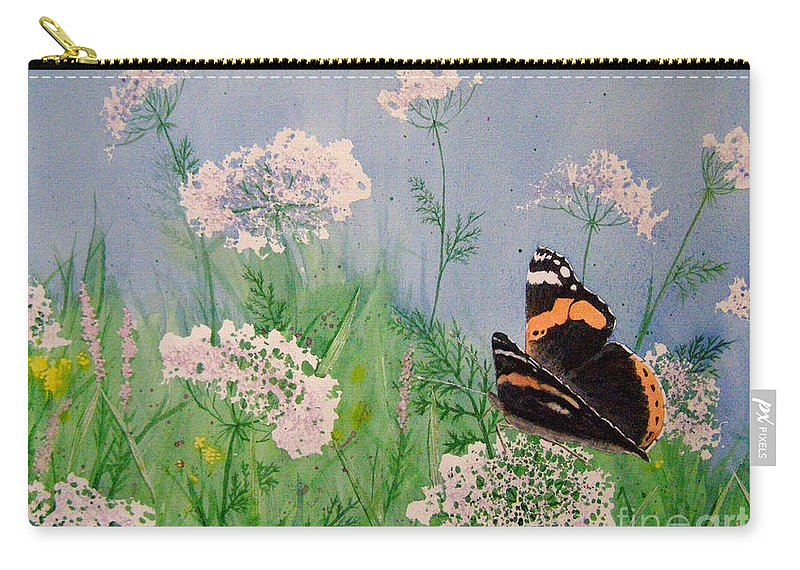 Admiral Carry-all Pouch featuring the painting Admiral And Lace by Lynn Quinn