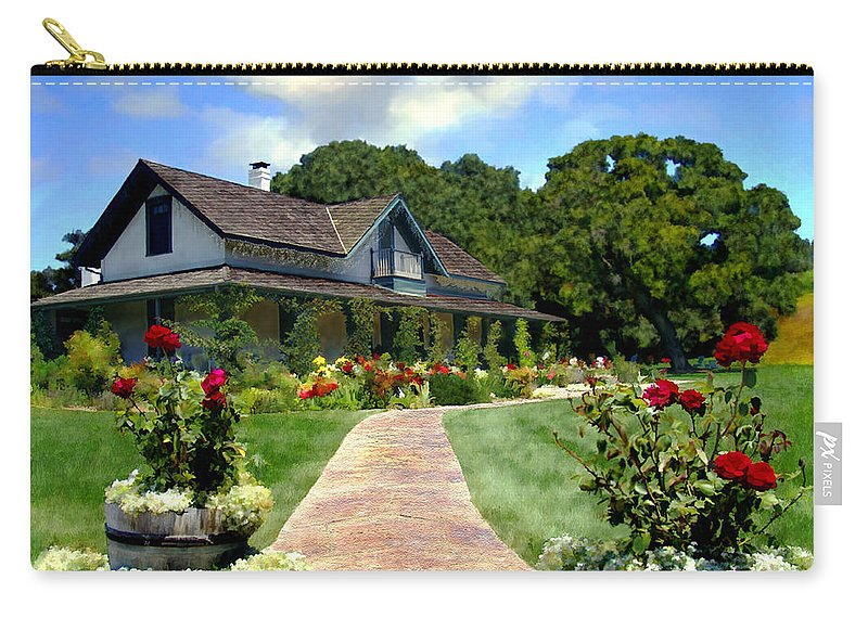 Solvang Carry-all Pouch featuring the photograph Adobe Alamo Pintado Rideau Vineyards by Kurt Van Wagner