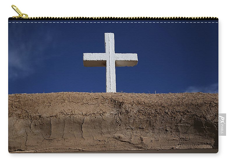 Adobe Carry-all Pouch featuring the photograph Adobe And Cross by Lynn Sprowl