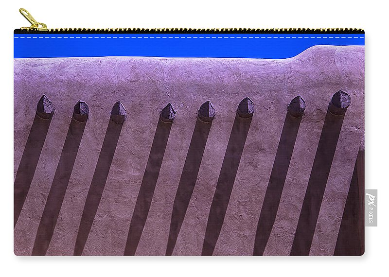Adobe Carry-all Pouch featuring the photograph Adobe Wall Shadows by Garry Gay