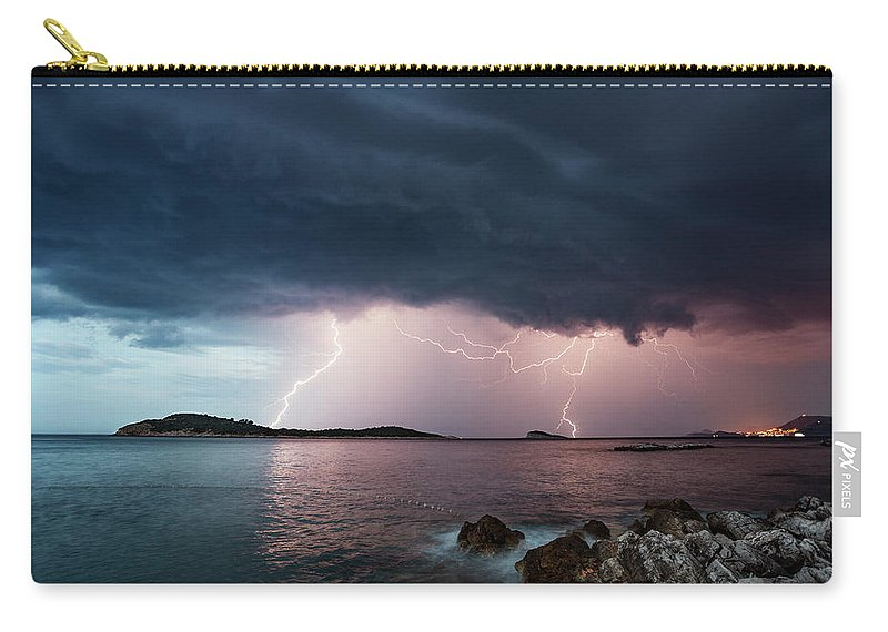 Adriatic Sea Carry-all Pouch featuring the photograph Adriatic Lightning by Image By Chris Winsor
