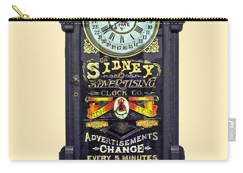 Advertising Clock Carry-all Pouch featuring the photograph Advertising Clock by Dave Mills