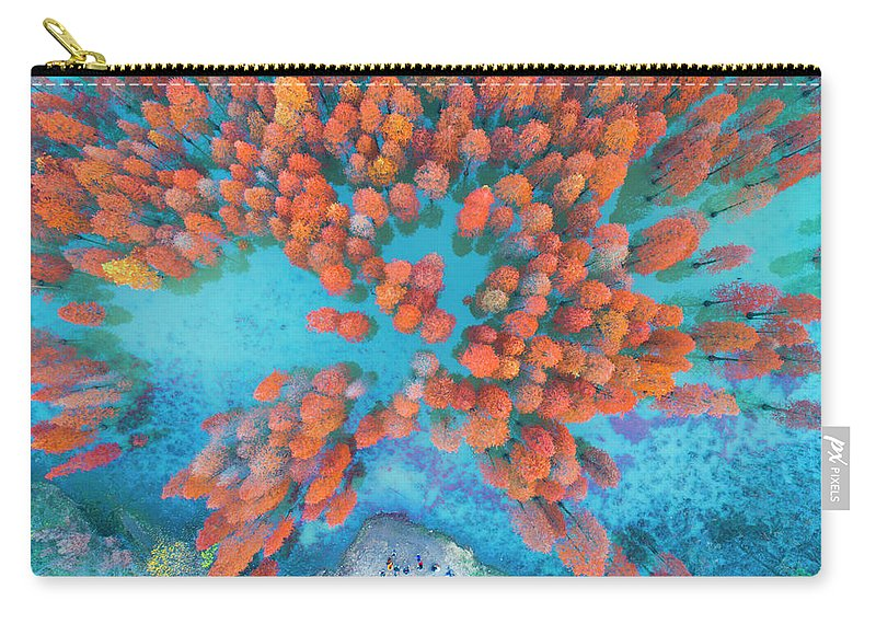 Tranquility Carry-all Pouch featuring the photograph Aerial Drone View With Fir Tree Fall by Yaorusheng