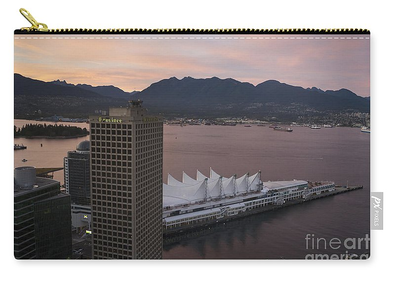 Travel Carry-all Pouch featuring the photograph Aerial View Of Canada Place At Sunse by Jason O Watson