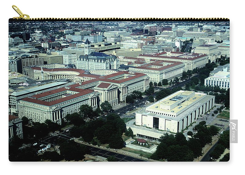 Downtown District Carry-all Pouch featuring the photograph Aerial View Of Constitution Avenue by Hisham Ibrahim