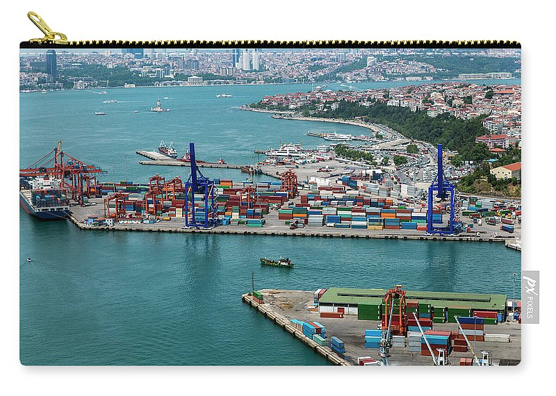 Istanbul Carry-all Pouch featuring the photograph Aerial View Of Container Port And Ship by Omersukrugoksu