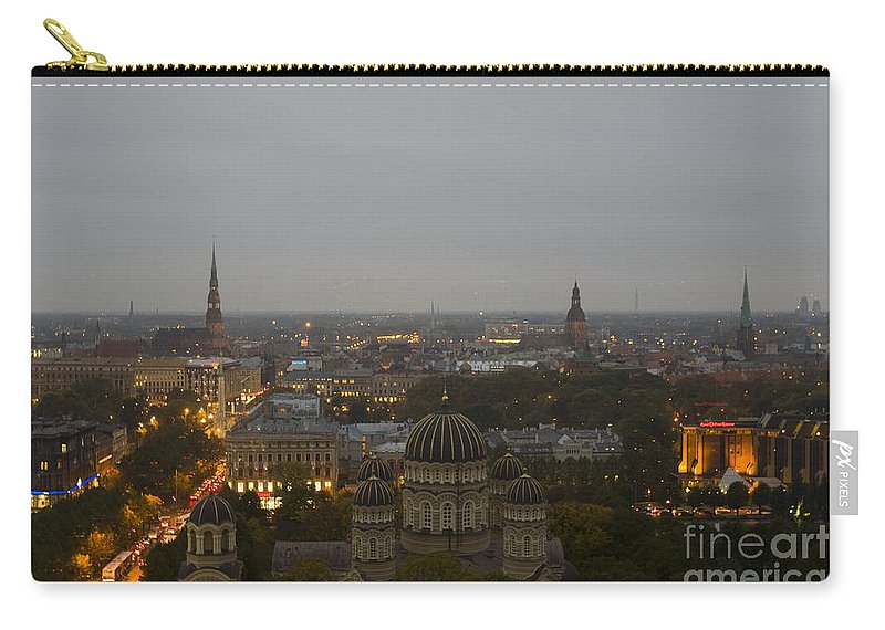 Travel Carry-all Pouch featuring the photograph Aerial View Of Riga by Jason O Watson