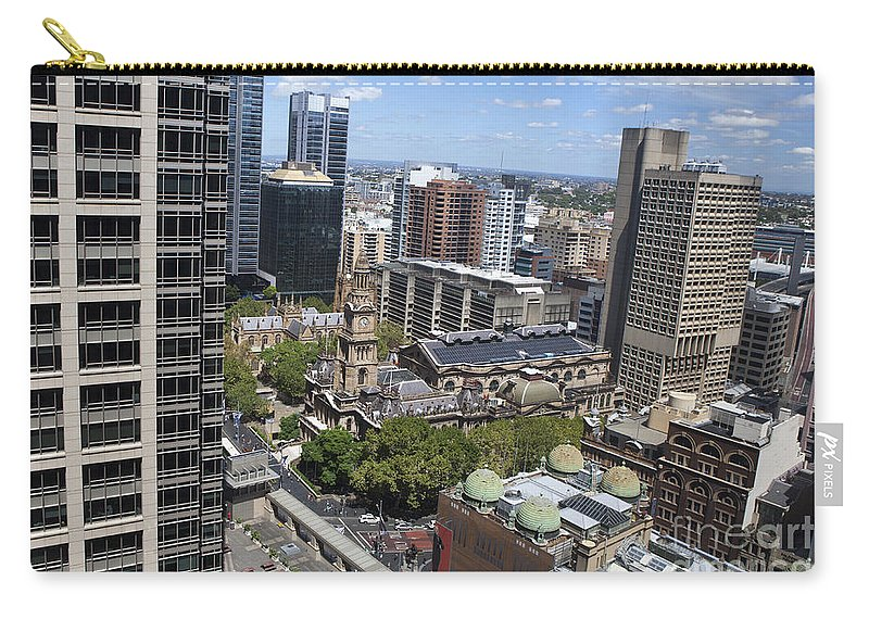Sydney Carry-all Pouch featuring the photograph Aerial View Of Sydney City Hall by Jason O Watson