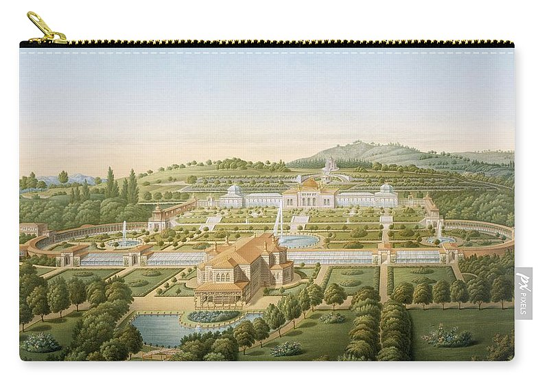 Print Carry-all Pouch featuring the painting Aerial View Of The Villa Of King by German School