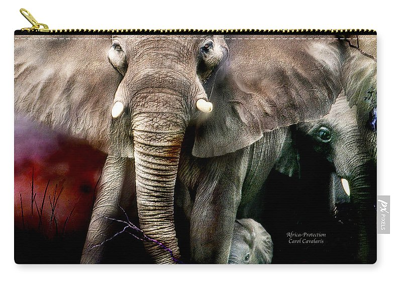 Elephant Carry-all Pouch featuring the mixed media Africa - Protection by Carol Cavalaris