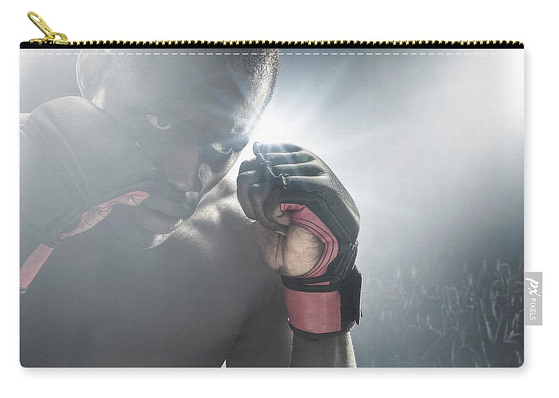 Young Men Carry-all Pouch featuring the photograph African American Mma Boxer With Gloves by John Fedele