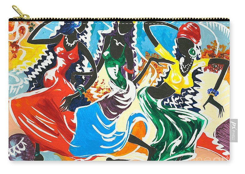 Canvas Prints Carry-all Pouch featuring the painting African Dancers No. 2 by Elisabeta Hermann