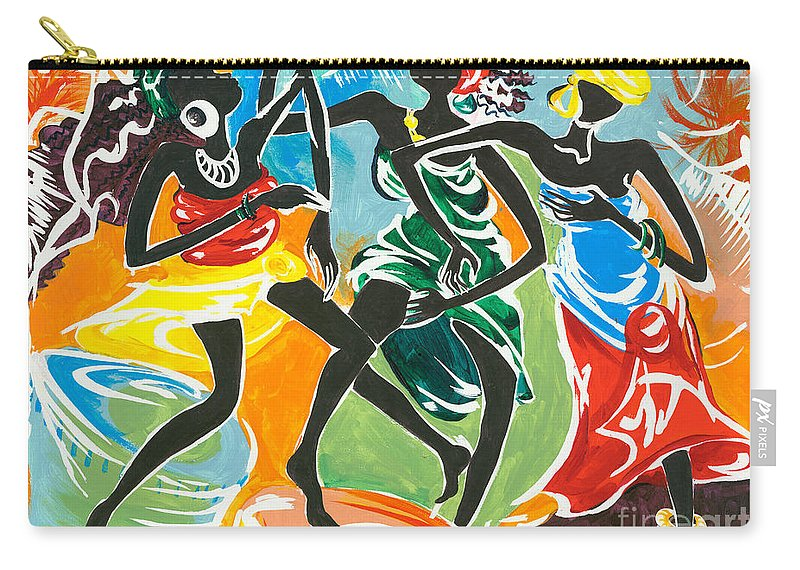 African Carry-all Pouch featuring the painting African Dancers No. 3 by Elisabeta Hermann