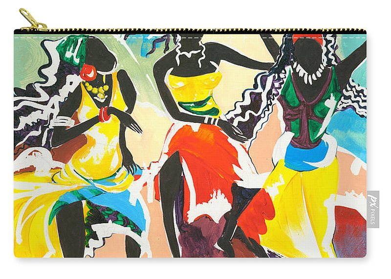 Paintings Carry-all Pouch featuring the painting African Dancers No. 4 by Elisabeta Hermann