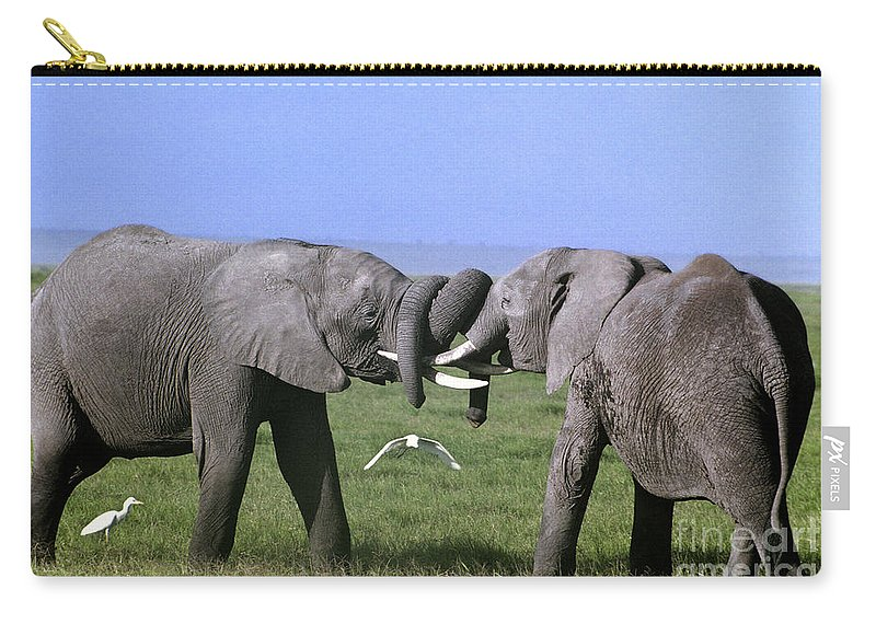 Africa Carry-all Pouch featuring the photograph African Elephant Greeting Endangered Species Tanzania by Dave Welling