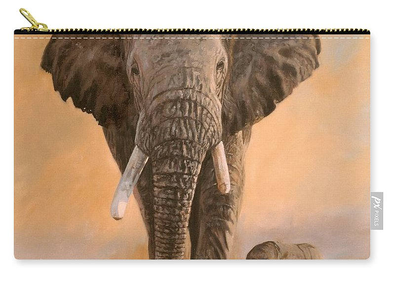 Elephant Carry-all Pouch featuring the painting African Elephants by David Stribbling