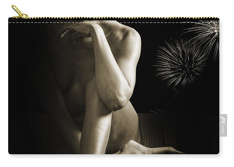 African Carry-all Pouch featuring the photograph Chynna African American Nude Girl In Sexy Sensual Photograph And In Black And White Sepia 4791.01 by Kendree Miller