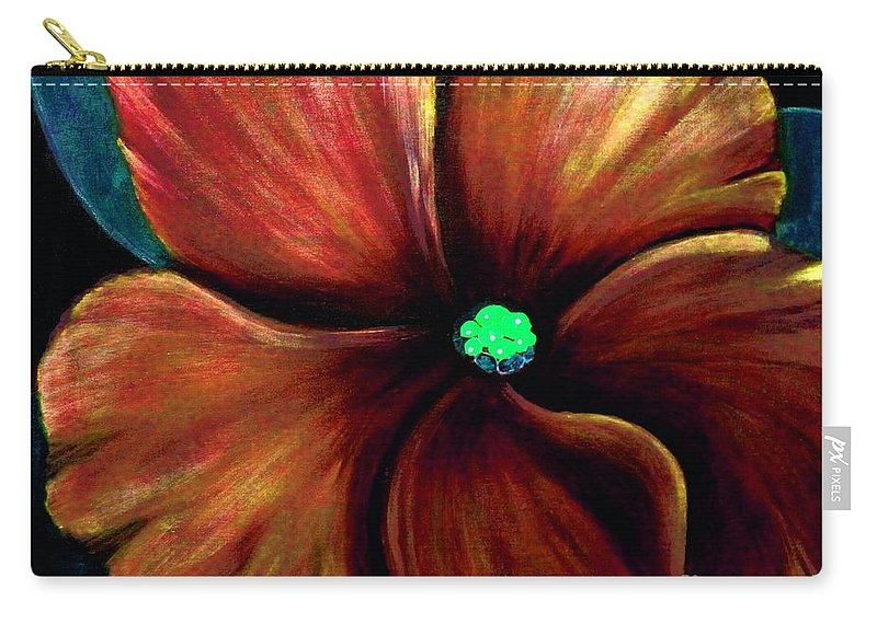 Golden Red African Violet Carry-all Pouch featuring the photograph African Violet Golden Red by Barbara Griffin