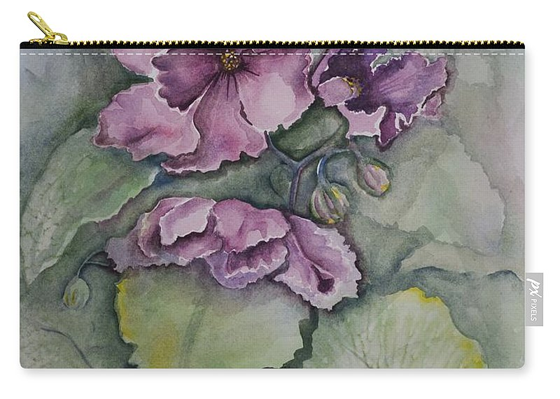 Fine Art Floral Carry-all Pouch featuring the painting African Violets by Rebecca Matthews