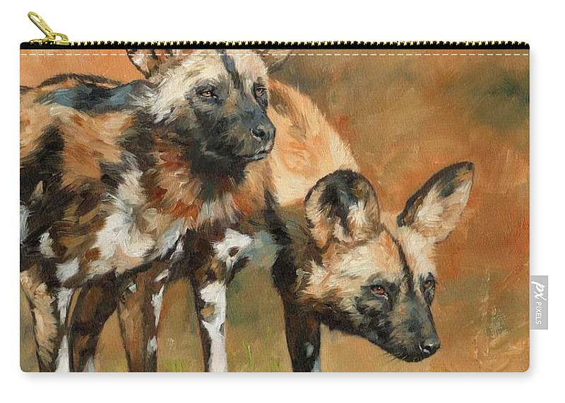Wild Dogs Carry-all Pouch featuring the painting African Wild Dogs by David Stribbling