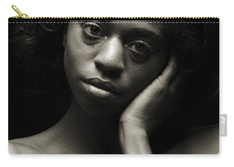 African Carry-all Pouch featuring the photograph Chynna African American Nude Girl In Sexy Sensual Photograph And In Black And White Sepia 4784.01 by Kendree Miller
