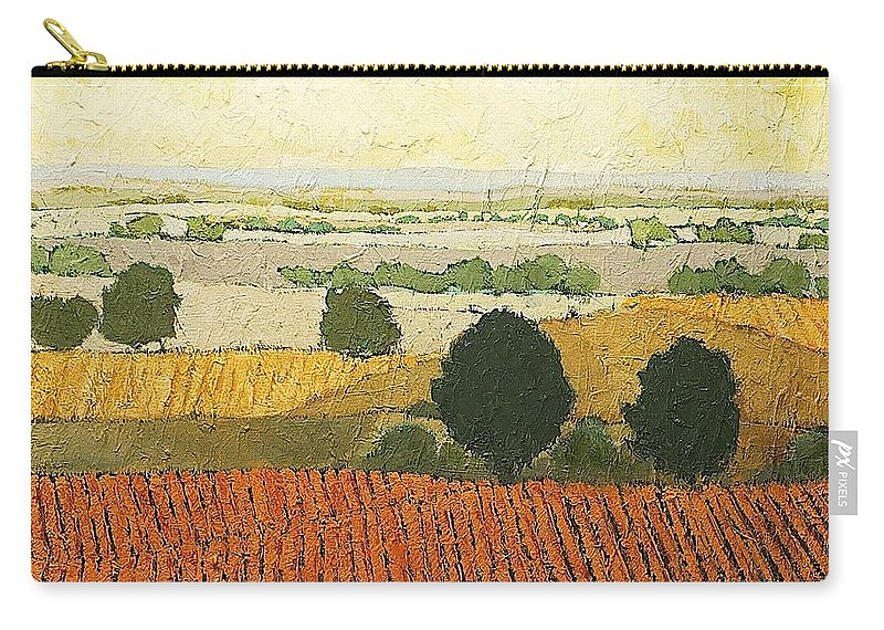 Landscape Carry-all Pouch featuring the painting After Harvest by Allan P Friedlander