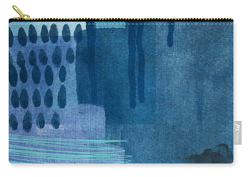 Blue Carry-all Pouch featuring the painting After Rain- Contemporary Abstract Painting by Linda Woods