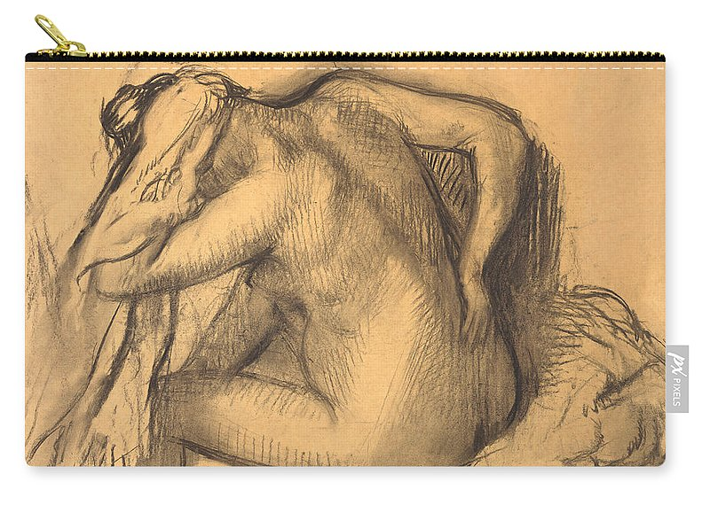 Edgar Degas Carry-all Pouch featuring the drawing After The Bath .woman Drying Her Hair by Edgar Degas