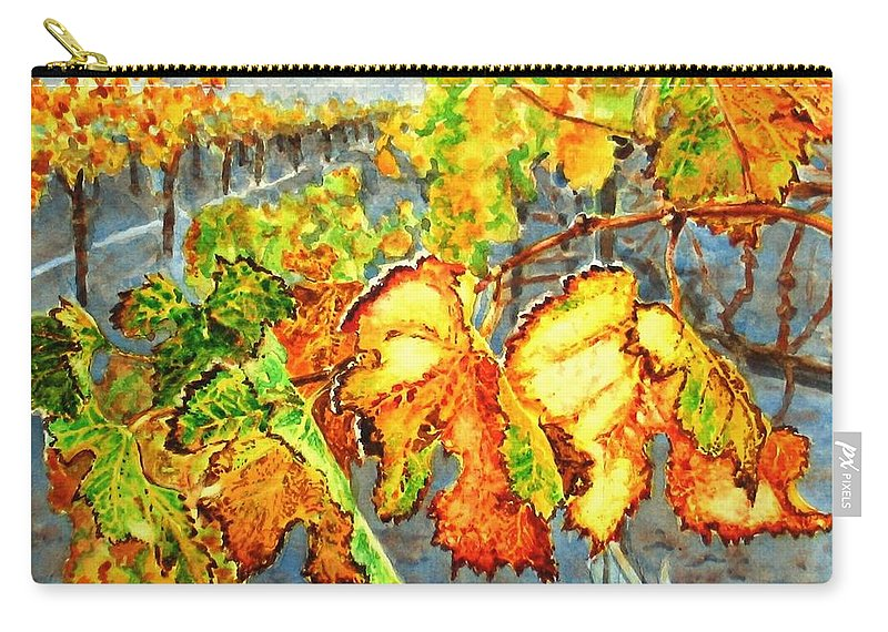Vineyard Carry-all Pouch featuring the painting After The Harvest by Karen Ilari