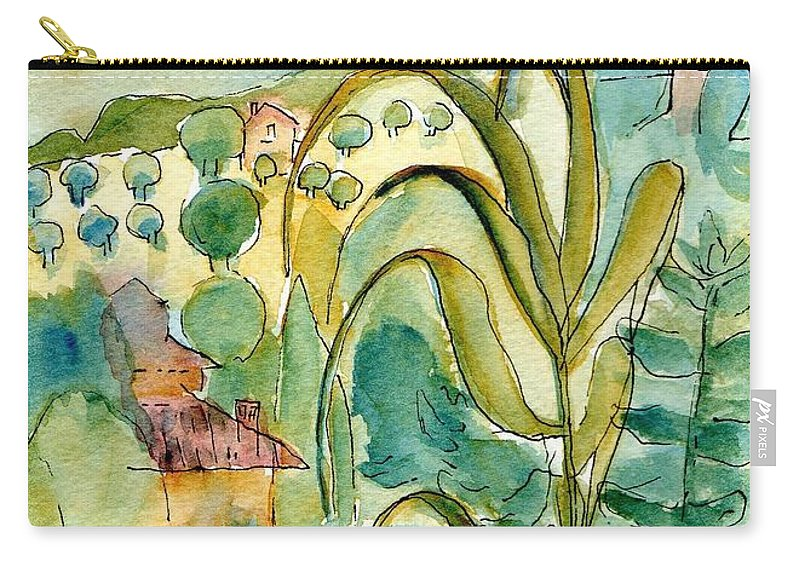 View Carry-all Pouch featuring the drawing After The Rain by Anita Bell