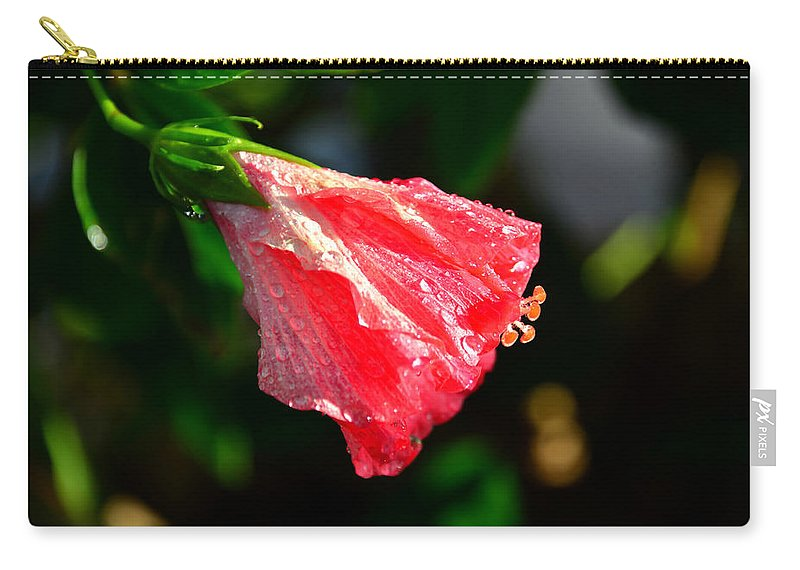 Hibiscus Carry-all Pouch featuring the photograph After The Rain by David Lee Thompson