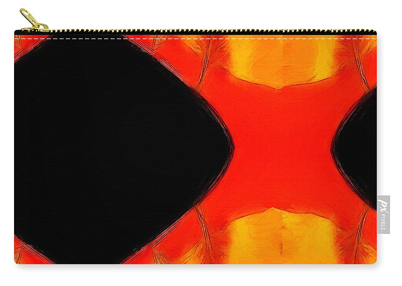 Expressionism Impressionism Abstract Painting Sunset Sunrise Afterglow Red Sun Tree Trees Nature Orange Yellow Sky Landscape Black Dark Earth Carry-all Pouch featuring the painting Afterglow by Steve K