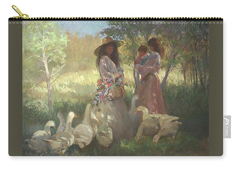 Women Carry-all Pouch featuring the painting Afternoon Gathering by Betty Jean Billups
