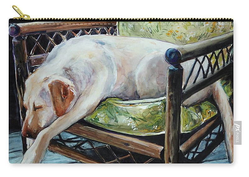 Yellow Labrador Retriever Carry-all Pouch featuring the painting Afternoon Nap by Molly Poole