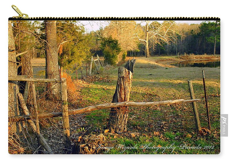 Autumn Road Carry-all Pouch featuring the photograph Afternoon Orange Gold Glow On Old Broken Fence by Pamela Smale Williams