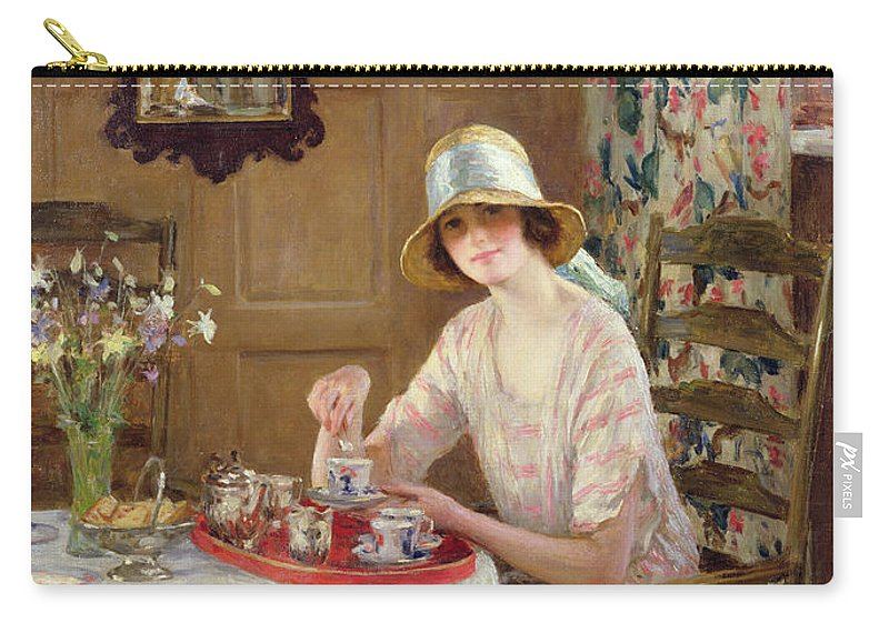 Woman Carry-all Pouch featuring the painting Afternoon Tea by William Henry Margetson