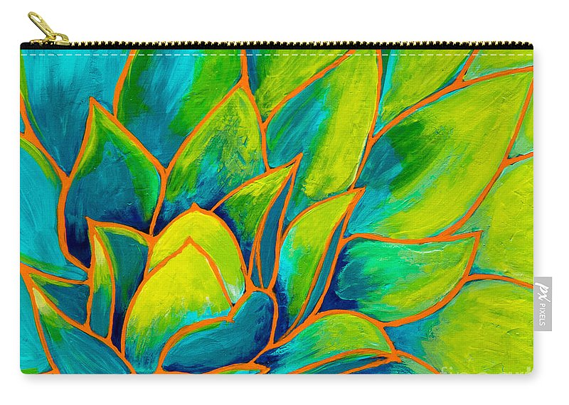 Plant Paintings Carry-all Pouch featuring the painting Agave Glow by Marta Tollerup