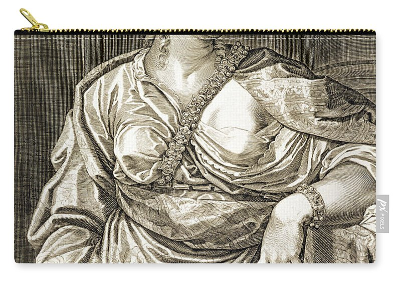 Roman Carry-all Pouch featuring the drawing Agrippina Wife Of Tiberius by Aegidius Sadeler or Saedeler