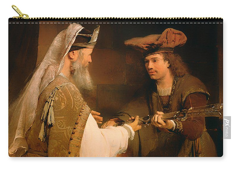 Painting Carry-all Pouch featuring the painting Ahimelech Giving The Sword Of Goliath To David by Mountain Dreams